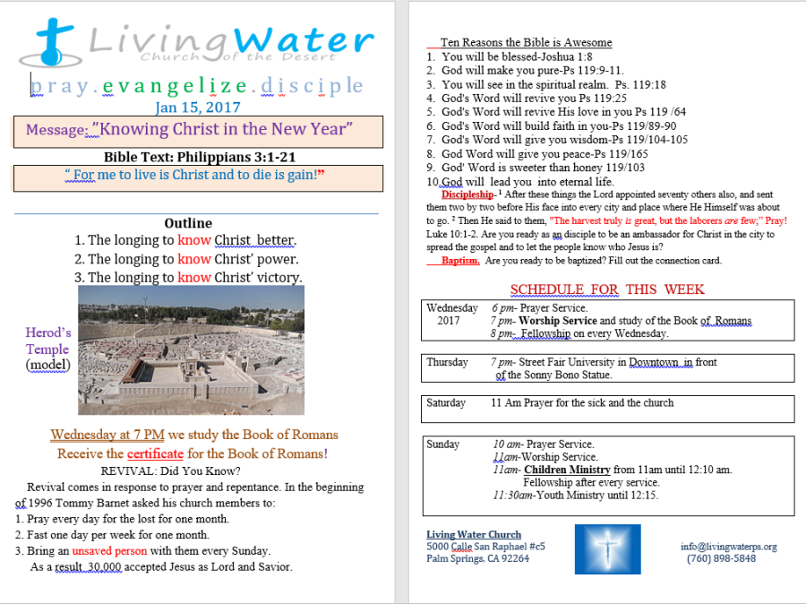 Living Water Church of Palm Springs believes in the power of prayer